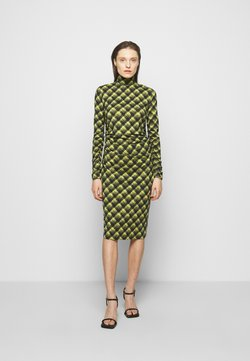 Proenza Schouler White Label - SHEER DRESS - Trikoomekko - olive/black brushed plaid