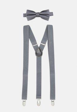 Pier One - SET HOSENTRÄGER - Krawatte - grey