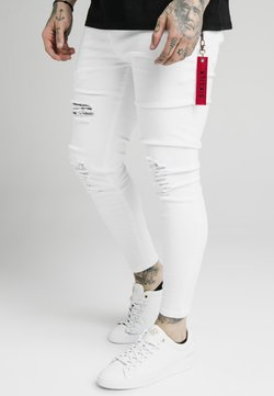 SIKSILK - DISTRESSED  WITH ZIP DETAIL - Jeans Skinny Fit - white