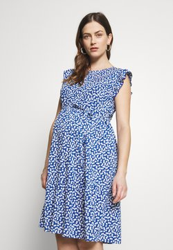 JoJo Maman Bébé - DITSY FLUTED SLEEVE DRESS - Freizeitkleid - blue