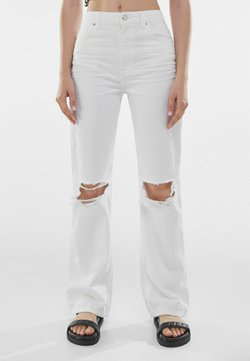Bershka - Jeans straight leg - white