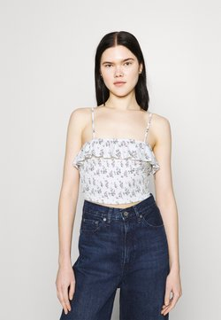 Hollister Co. - BARE RUFFLE SMOCKED - Top - white