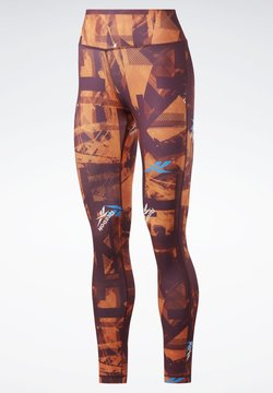 Reebok - WORKOUT READY MYT PRINTED LEGGINGS - Tights - burgundy