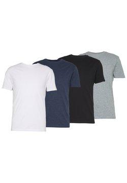 Pier One - 4 PACK - T-shirt basic - black/white/blue