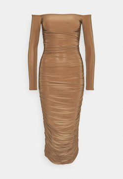 Missguided Tall - BARDOT SLINKY RUCHED MIDAXI DRESS - Jerseykleid - camel