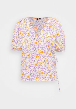 Vero Moda Curve - VMFELINE 2/4 WRAP BLOUSE - Bluse - birch/pastel lilac