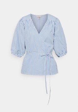 Esqualo - BLOUSE OVERLAP STRIPES - Bluse - blue/white