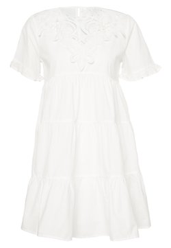 Missguided - POPLIN CROCHET SMOCK DRESS - Robe de soirée - white