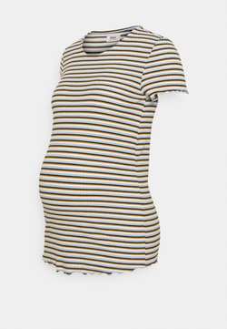 ONLY - OLMEMMA STRIPE - T-Shirt print - cloud dancer/blue/yellow