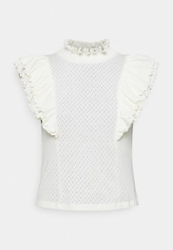 Pieces Petite - PCLUCY T NECK - Camiseta estampada - cloud dancer
