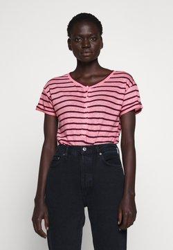 J.CREW - ROLL CUFF HENLEY STRIPE - T-Shirt print - pink/iris marie