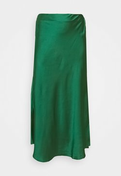 Glamorous Curve - MIDI SKIRT - Jupe longue - dark green satin
