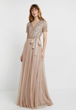Maya Deluxe - STRIPE EMBELLISHED MAXI DRESS WITH BOW TIE - Robe de cocktail - nude