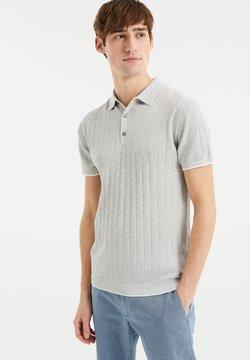 WE Fashion - MET STREEPSTRUCTUUR - Poloshirt - light grey