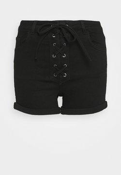 NA-KD - Pamela Reif x NA-KD TIE DETAIL - Jeansshort - black