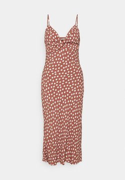 Abercrombie & Fitch - WIDE STRAP SLIP MIDI DRESS - Vestito estivo - rust