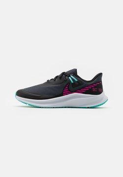 Nike Performance - QUEST 3 SHIELD - Zapatillas de running neutras - black/fire pink/obsidian mist/aurora green/chrome/football grey
