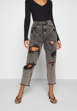 Missguided Petite - RIOT HIGH RISE RIPPED MOM AUTHENTIC - Relaxed fit jeans - grey