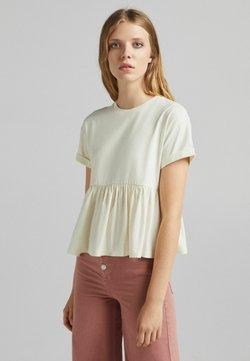 Bershka - MIT KURZEN ÄRMELN UND VOLANTS - T-shirt z nadrukiem - beige