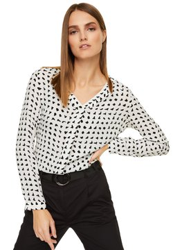 comma casual identity - MIT V-NECK - Bluse - black & white