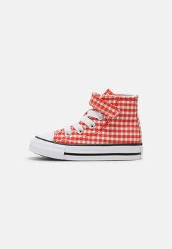 Converse - CHUCK TAYLOR ALL STAR GINGHAM HI UNISEX - Korkeavartiset tennarit - bright poppy/white/black
