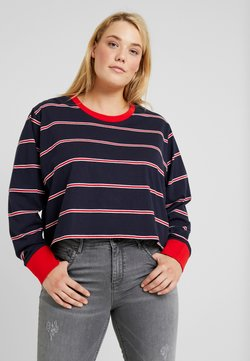 Urban Classics Curvy - LADIES SHORT DYED SKATE STRIPE - Langarmshirt - midnightnavy/red