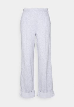 NA-KD - WIDE LEG PANTS - Trousers - grey melange