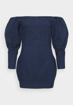 Missguided Petite - PUFF SLEEVE BARDOT DRESS - Denim dress - deep blue