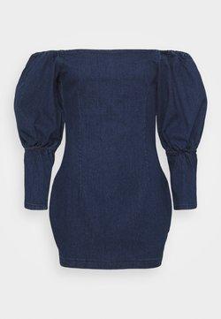 Missguided Petite - PUFF SLEEVE BARDOT DRESS - Jeanskleid - deep blue