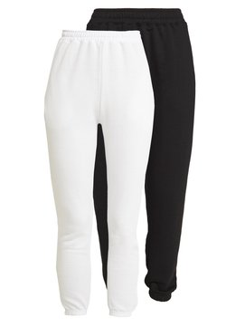 Missguided - BASIC JOGGERS 2 PACK - Jogginghose - white/black