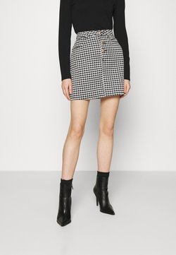 Missguided - HOUNDSTOOTH SKIRT - Minirock - black