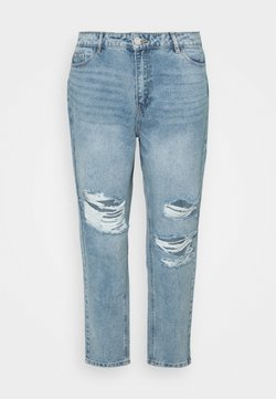 Missguided Plus - RECYCLED SLASH DISTRESS MOM - Jeans Straight Leg - blue