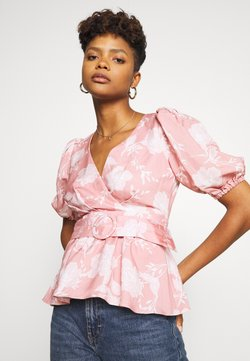 Forever New - BELTED WRAP BLOUSE - Bluser - coral linear spray