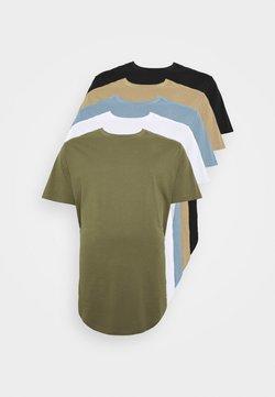 Jack & Jones - JJENOA TEE CREW NECK 5 PACK  - T-shirt basique - crockery/dusty olive