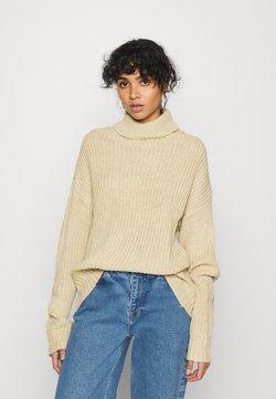 Even&Odd - BASIC- Roll neck- long line - Stickad tröja - sand