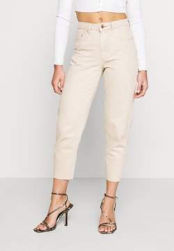 Lost Ink Petite - RAW HEM - Straight leg jeans - beige