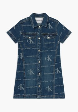 Calvin Klein Jeans - LOGO JACQ DARK  - Jeanskleid - blue