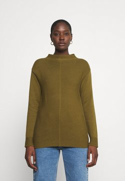 Marc O'Polo - LONGSLEEVE STRUCTURE MIX TURTLENECK - Strickpullover - olive green