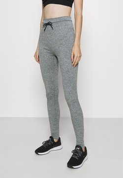 NU-IN - HIGH WAIST CROPPED SEAMLESS JOGGERS - Tracksuit bottoms - grey marl