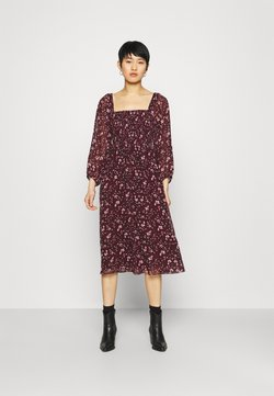 Madewell - SQUARE NECK SMOCKED MIDI DRESS - Freizeitkleid - burgundy paisley floral