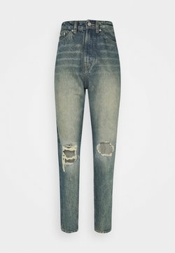 Missguided Tall - KNEE SHRED TURN UP HEM MOM JEAN - Jeans Relaxed Fit - blue