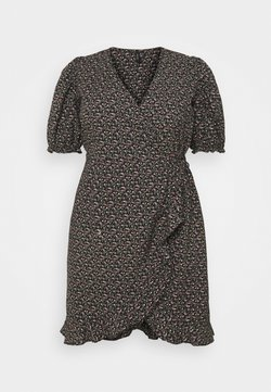 Vero Moda Curve - VMBELINA 2/4 WRAP DRESS - Freizeitkleid - black/belina