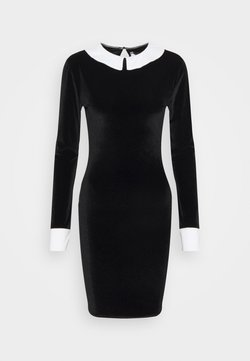 Missguided Tall - EXAGGERATED COLLAR VELOUR DRESS - Tubino - black