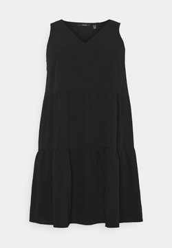 Vero Moda Curve - VMOLIVIA PEPLUM DRESS  - Freizeitkleid - black