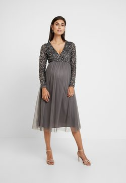 Maya Deluxe Maternity - LONG SLEEVE WRAP MIDI DRESS WITH DELICATE SEQUIN EMBELLISHMENT - Cocktailkleid/festliches Kleid - charcoal