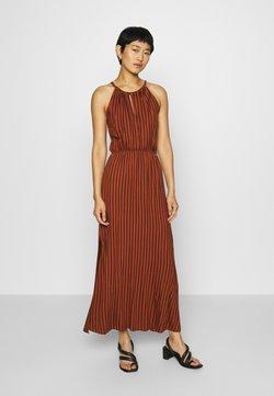 TOM TAILOR DENIM - STRIPED NECKHOLDER DRESS - Jerseykleid - rust/black
