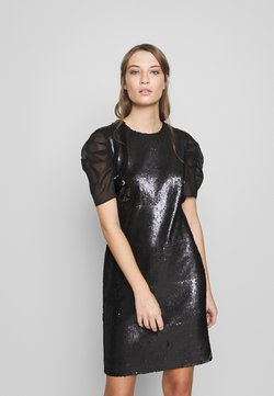 KARL LAGERFELD - SEQUINS DRESS WITH PUNTO - Sukienka koktajlowa - black