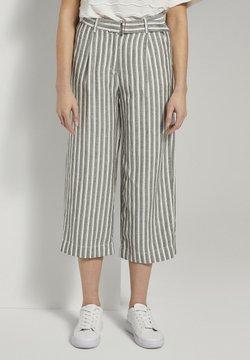 TOM TAILOR - Stoffhose - khaki offwhite stripe