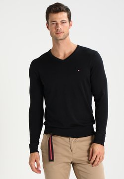 Tommy Hilfiger - V-NECK  - Strickpullover - flag black