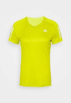 adidas Performance - OWN THE RUN TEE - Camiseta estampada - acid yellow